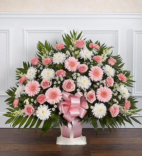 Heartfelt Tribute™ Floor Basket- Pink & White