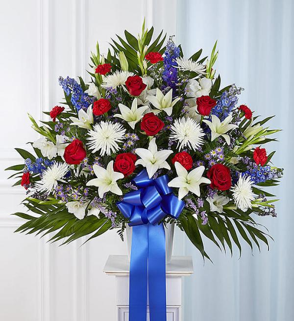 Heartfelt Sympathies™ Standing Basket- Red, White & Bl